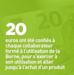 20 euros ont été confiés à chaque collaborateur formé à l'utilisation de la Borne, pour s'exercer à son utilisation et aller jusqu'à l'achat d'un produit