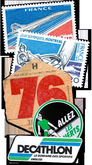 Le concorde, Jeux Olympiques de MONTREAL, Vignette auto 76, Allez les verts, Decathlon, Le domaine des sportifs, ENGLOS