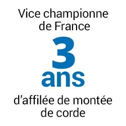 Vice championne de France 3 ans d'affilée de montée de corde